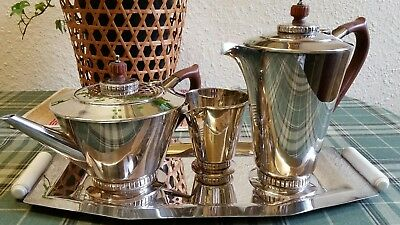 Vintage Art Deco Style silver Batchelor tea set and tray