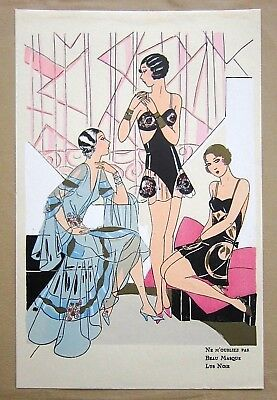 1920's Art Deco French Lingerie Pochoir Print, Erotic Lingerie Fashion Art Print