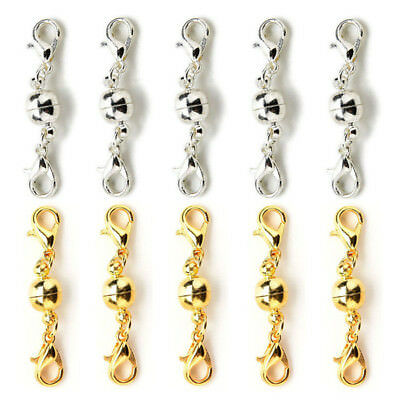 5pcs Gold/Silver Ball Tone Magnetic Lobster Clasps for Jewelry Necklaces Cool