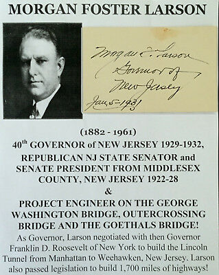 Governor New Jersey Engineer George Washington Goethals Bridge Autograph Signed!