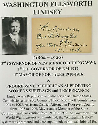Wwi Governor New Mexico Mayor Portales Womens Suffrage Lindsey Autograph Signed!