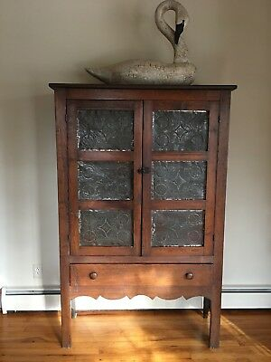Antique Pie Safe Cabinet Cupboard 6 Punched Tin Panels