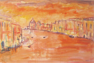 SUNRISE OVER  VENICE large painting oil original on canvas abstract wall art
