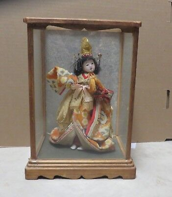 Vintage Japanese Geisha Doll with Glass Display Case