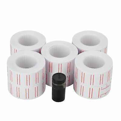 10 Rolls 6000pcs White Price Tag Sticker Gun Labels Refill For MX 5500 w/ 1 ink