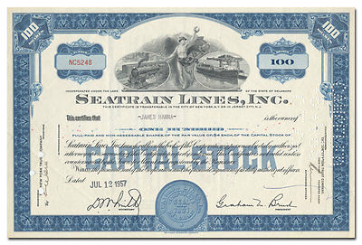 Seatrain Lines, Inc. Stock Certificate (Great Vignette of Train and Tanker)
