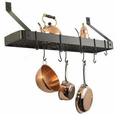 Black Wall Mount Pot Rack Wrought Iron Hanging Pans Storage Kitchen Holder