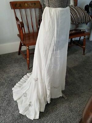 Skirt long white Edwardian Victorian cotton lawn train antique original 1900s