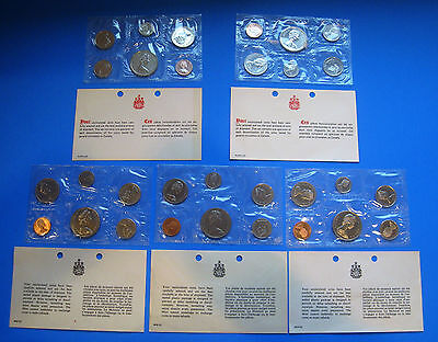 (5) Canadian Mint Uncirculated Coin Sets 1968 1969 1970 1975 1977