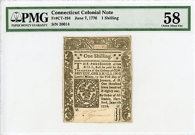 (CT-194) June 7, 1776 1 Shilling CONNECTICUT Colonial Currency - PMG Ch.AU 58