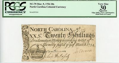 (NC-79) March 9, 1754 20 Shillings NORTH CAROLINA Colonial Currency - PCGS VF 30
