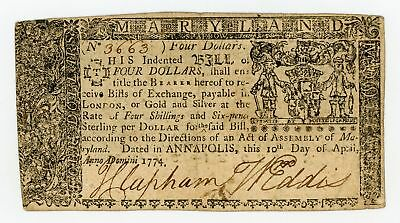 (MD-68) April 10th, 1774 $4 MARYLAND Colonial Currency Note