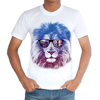 Men's Summer Breathable Quick-drying 3D T-shirt Casual Fashion Lion Head Printin