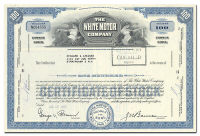 White Motor Company Stock Certificate (Harder to Find Issue)