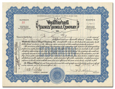 Weatherbest Stained Shingle Company, Inc Stock Certificate (North Tonawanda, NY)