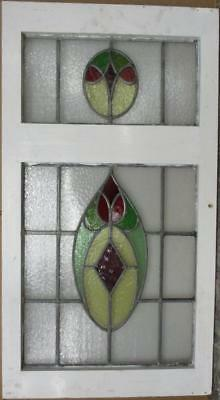"LARGE OLD ENGLISH LEADED STAINED GLASS WINDOW Cute Abstract 20"" x 37"""