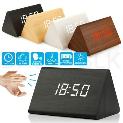 New Modern Wooden Wood Digital LED Desk Alarm Clock Thermometer Timer Calendar