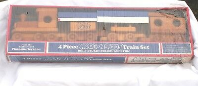 """Pinehouse Toys Wooden Handcrafted """"4 Piece Wood-N-Toot Train Set"""" Very Rare Find"""