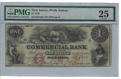 1856 $1 Note, Commercial Bank, Perth Amboy, New Jersey, PMG VF25