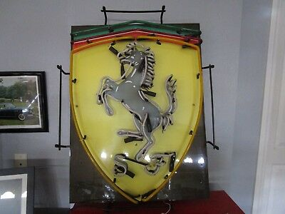 "Ferrari Shield Neon Dealership sign. Garage Wall Art 31"" by 22"" 348 355 360 430"