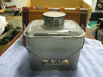 Antique Miners Lunch Pail Gray enamelware graniteware