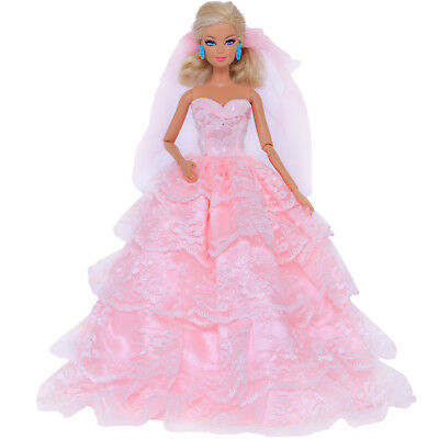 Handmade Pink Wedding Dress With Veil Party Gown Clothes For Barbie Doll Toy 95B