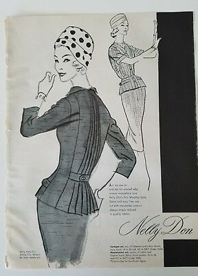 1957 Nelly Don women's suit dress polka dot hat fashion ad