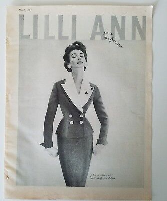1957 women's LILLI ANN fabric of France Suit Vintage fashion ad