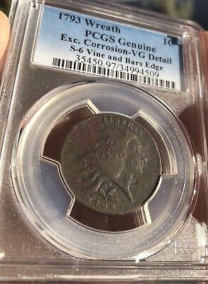 1793 wreath large cent S-6 Vines And Bars