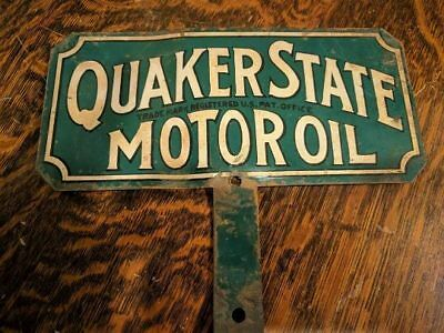 Antique Double-sided Quaker State Motor Oil License Plate Topper - Great Colors!