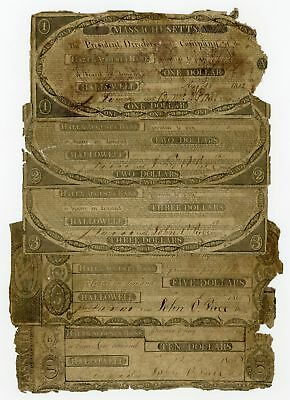 (Set of 5) 1800's Hallowell & Augusta Bank - MAINE Notes - NO RESERVE!