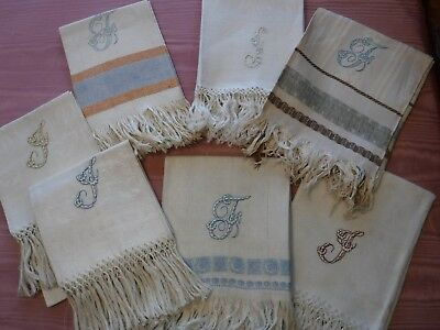 7pc Vintage J or T Monogram Linen Towel Collection Damask Fringe