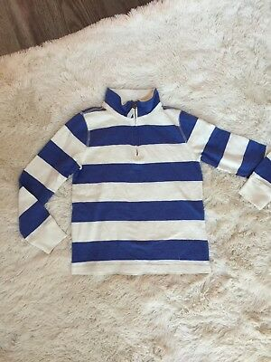 NWOT Crewcuts Size 8 Half Zip Blue And White Stripped Sweater