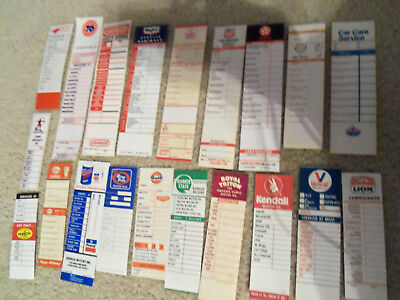 lot #1  OLD GAS STATION OIL CHANGE STICKERS, MISC. LOT- 20 DIFFERENT