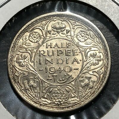 1940 India Silver 1/2 Rupee Brilliant Uncirculated Coin