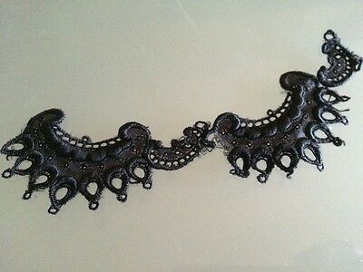 Antique Dainty Lace Black Trim Salvage Costume French Doll Hats Dolls Collars