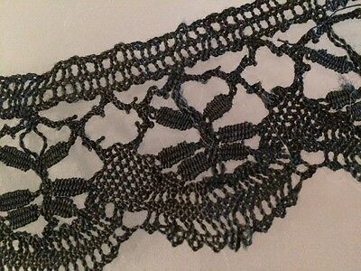Antique Black Lace Morning Fragment Salvage 4 French Dolls Costume Doll