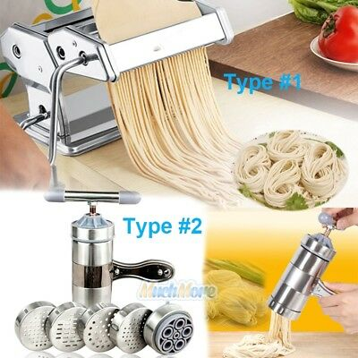 "New Pasta Maker 7"" Noodle Making Machine Dough Cutter Roller w/ Handle 2 TYPES"