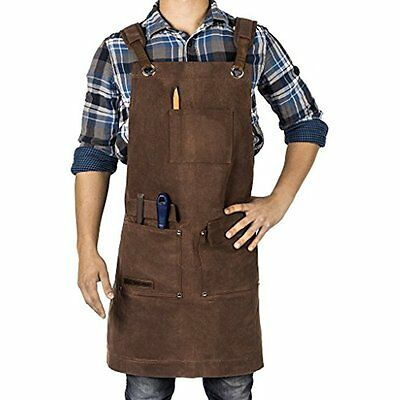 Waxed Canvas Heavy Duty Shop Apron With Pockets Adjustable Up To XXL For Men And