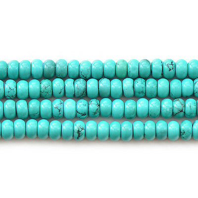 Blue Howlite Turquoise Gemstone Rondelle Spacer Beads 15''Strand 4x8MM
