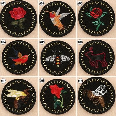 1PCS Black Embroidered Iron On Patch Round Cartoon Fabric Applique Trim 63mm