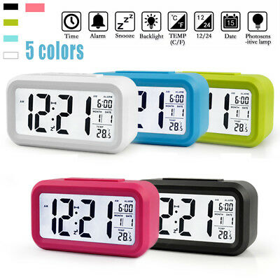 Digital Snooze Alarm Clocks Backlight LED Table Clock Time Temperature Calendars