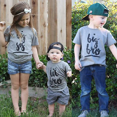 Children Brother Sister Matching Baby Boy Girl Short Sleeve Cotton Tops T-shirt