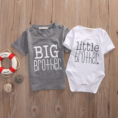 US Stock Big Brother T-shirt Tee Little Brother Baby Boy Romper Outfit Set