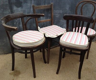 4 vintage bentwood mismatched chairs with newly made seat pads Thonet interest