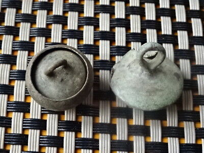Lot Of  2 Authentic Late Roma Or Byzantine Medieval Bronze Pendants / Very Rare