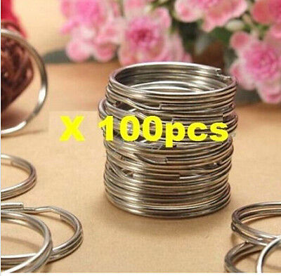 Nickel Stainless Steel Split Ring Key Rings Keychain Silver 25mm *100pcs