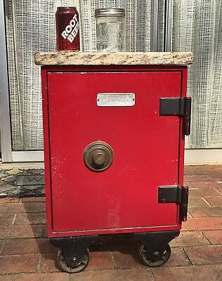 Vintage MEILINK COMBINATION SAFE Household Fireproof + Granite Slab=End Table