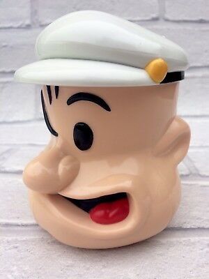 Rare Popeye The Sailor Man King Features Syndicate Lidded Plastic Mug Cup
