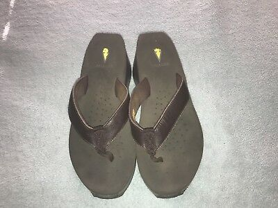 f8fa9c6abeaf04 Volatile Womens Brown Wedge Heel Flip Flops Sandals Size 8 Leather Upper